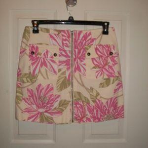 Tommy Hilfiger floral zip front skirt size 8